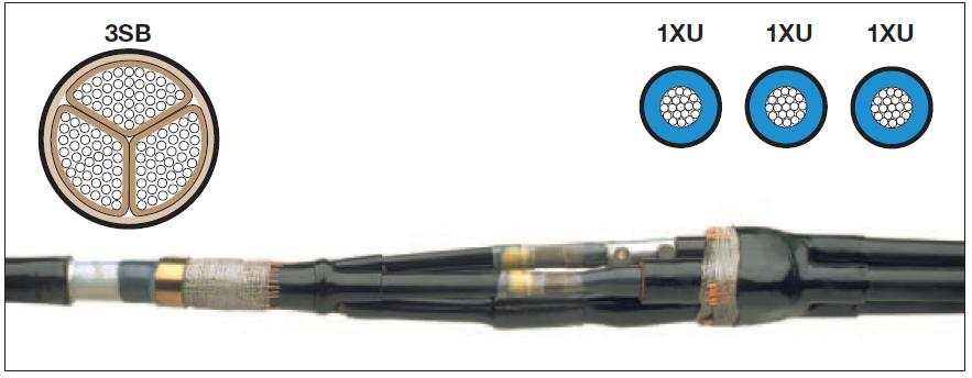 Přechodové spojky se šroubovacími spojovači pro jednožilové kabely pro 6 KV